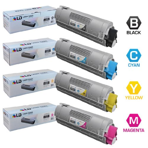 LD Compatible Toner Cartridge Replacement for Okidata C6150 High Yield (Black, Cyan, Magenta, Yellow, 4-Pack)