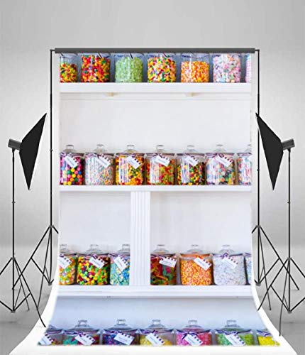 5x7FT Vinyl Backdrop Candy Store Photography Soft Background Baby Girl Kids Candy Shop Pots On Newborn Baby Goods Shelf Baby Kids Portrait Art Photo Backdrop