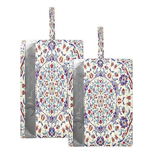 Hunihuni Reise-Schuhtasche, Mandala, Islam, Arabisch, Indisch, wasserdicht, tragbar, mit Reißverschluss, 2 Stück