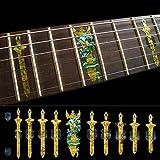 Jockomo 剣&ドラゴン(オーカー OC) ギターに貼る インレイステッカー