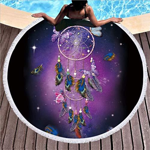GermYan Toalla de Playa Redonda con Borla atrapasueños de Microfibra 150Cm para natación, baño, Picnic, Tapiz de Pared, Manta