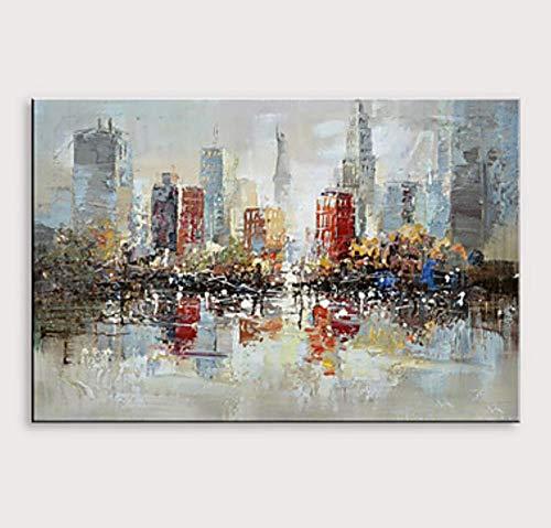 Pittura Ad Olio Dipinto A Mano Su Tela,Coltello Tavolozza Paesaggio Astratto Dipinti,Teal Grigio Rosso Edifici Della Città,Moderno Di Grandi Dimension