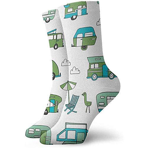 NA Nieuwigheid Cool Crazy Funny Dress Sokken - Vintage Rv Road Trip Van Camping Sokken - geschenken voor mannen en vrouwen