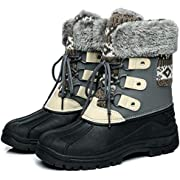 Faivykyd Women's Knit Snow Duck Boots, Faux Fur Waterproof Winter Boots for Women, Lace Up Mid-Calf Leather Boots for Outdoor Beige & Black Size 5