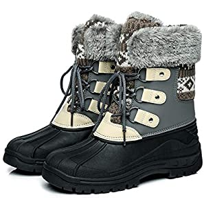 Faivykyd Women's Faux Fur Duck Snow Boots, Insulated Waterproof Winter Boots for Women, Lace Up Mid-Calf Boots for Outdoor