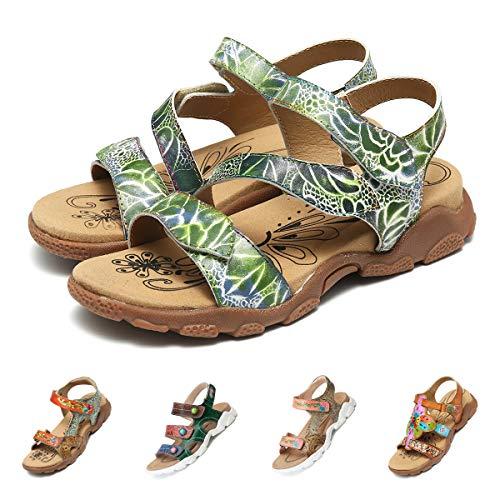 Camfosy Damen Leder Wandern Flach Sandalen,Sommer Outdoor Sport Sandalen Urlaub Freizeit Handgefertigt Schuhe Verstellbare Klettverschluss Gemütliche Barfuß-Gefühl Wanderschuhe Grün 37 EU