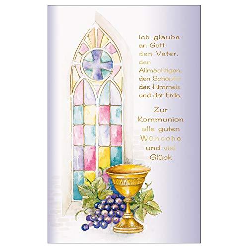 Susy Card 40024776 wenskaart communie, Jezus & Vrouw kleurrijk raam