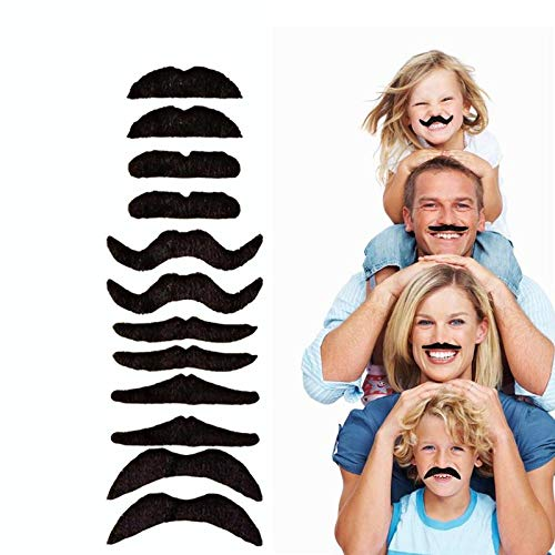 12pcs/set Party Halloween Christmas Fake Mustache Funny Fake Beard Whisker for Your Birthday - Novelty and Toy, for Halloween, Parties, Kids, Gift, Favors, Fun, Birthday, Fiesta, Games, Home