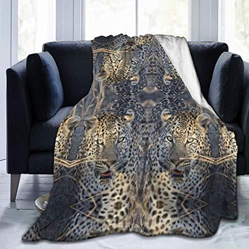 Manta de forro polar de franela con diseño de leopardo africano brillante para sofá, cama, 127 x 101 cm