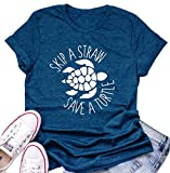 Women Turtle T Shirt Short Sleeve Funny Letter Ocean Environmental Awareness Lovers Graphic Print Tees Blue