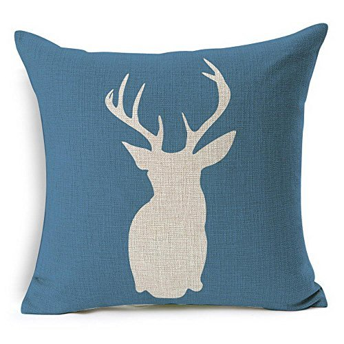 HT&PJ Decorative Cotton Linen Square Throw Pillow Case Cushion Cover Blue Background Dear Design 18 x 18 Inches …
