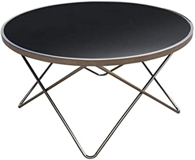 Champagne Modern Scandinavian Round Coffee Table - 85cm - Tempered Glass Top