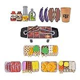 LOVOICE Juego de 80 piezas para barbacoa, juguete de cocina, juguete para juegos de rol, juego de comida para niños, niños pequeños, niños y niñas