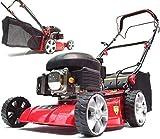 Cortacésped de gasolina, 410 mm, tracción de ruedas, 55793, 41 cm, motor de 41 cm, autopropulsión, incluye engranaje de marca AWZ Big Wheeler, carcasa de chapa de acero, accionamiento de ruedas