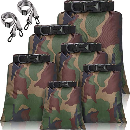 6 Pieces Waterproof Dry Bag Set Lightweight Combo Set with 15 L, 8 L, 5 L, 4 L, 3 L, 2 L Sacks and 2 Long Adjustable Shoulder Strap for Kayaking, Rafting, Boating, Hiking, Camping (Camouflage Color)