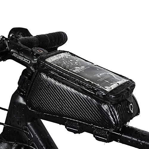 DXQDXQ Marco Bolsas para el Manillar Impermeable Universal Cuero Bolsa Bici Soporte para Telefono Móvil Bolsa Táctil de Tubo Superior Delantero Bolsas de Bicicleta, Negro Ciclismo