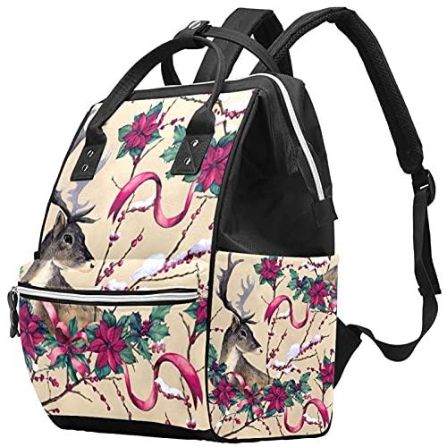 Stylish Handbag Diaper Bag Laptop Backpack Travel Rucksack Waterproof Daypack for Women Men Vintage Reindeer With Floral