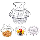 Deep Fry Basket - 304 Stainless Steel - Multi-Function Foldable Chef Cooking Basket, Flexible Kitchen Tool for Fried Food, Washing Fruits, Vegetables