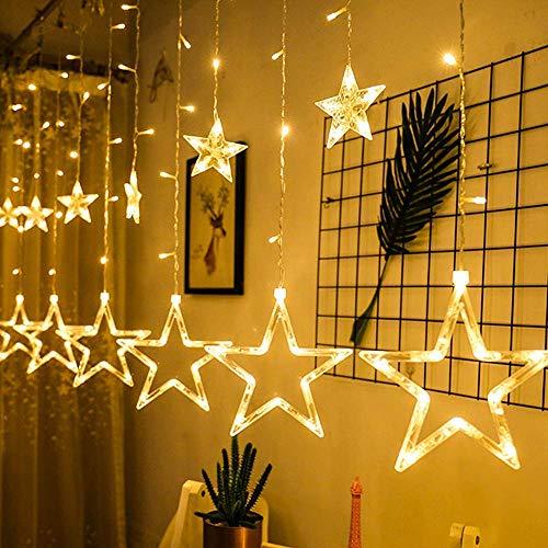 Led Sterne Lichterkette, Lichtervorhang Weihnachten Fensterbeleuchtung Partylichterkette Warmweiß Weihnachtsbeleuchtung Mit 12 Sterne 138 Leuchtioden AußEn Innen für Weihnachtsdeko Fensterdeko