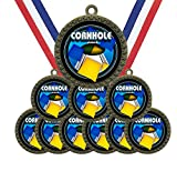 Large 2-1/2 inch Metal Antique Gold Cornhole Bag Toss Medals Star Award Trophy Champion Winner with Red White and Blue Neck Ribbons (Pack of 10)