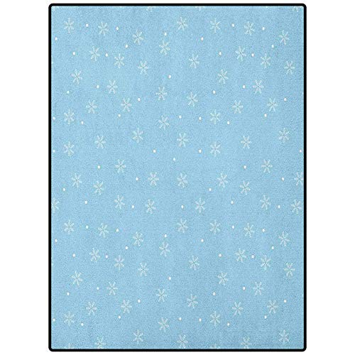 Winter Bathroom mats and Rugs Living Room Home Decor Floor Carpet Soft Snowfall Pattern with Dots on Blue Traditional Abstract Cold Christmas Pale Blue White 72' x 24'