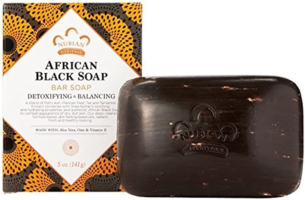 真夜中効能殺人者Bar Soap, African Blk with Al, 5 oz,pack of 4 by Nubian Heritage [並行輸入品]