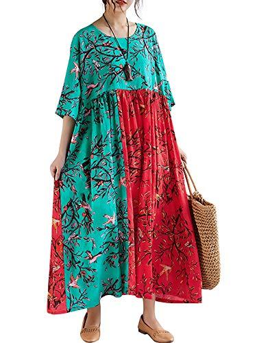 Romacci Damen Blätter Drucken Splice Farbe Lange Maxi Rüschen Dress Strand Urlaub Lose Sommerkleid Schwarz (One Size, Grün und Rot)