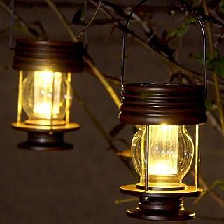 Lanterne solari da appendere, confezione da 2 lampade da giardino a LED vintage appese a energia solare con maniglia per v...