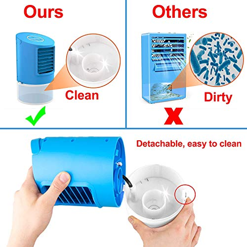 Mobiles Klimageräte| Klimaanlage Wohnung|4 in 1 Luftkühler |2 Timer 3 Windkraft |7 farben,Blau