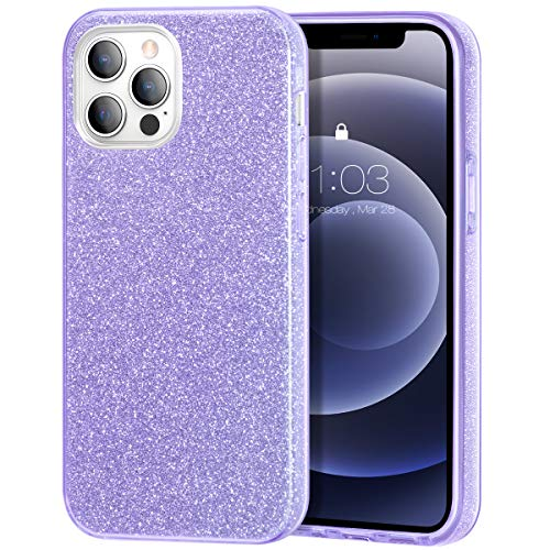 zelaxy Case Compatible with iPhone 12 / iPhone 12 Pro, Protective 3 Layer Anti-Slick Slim Bling Sparkly Glitter Cover for iPhone 12 / iPhone 12 Pro 6.1 inch (Purple)