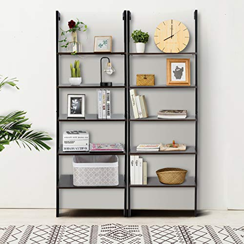 Tangkula 5-Tier Ladder Shelf Against The Wall, Industrial Bookcase, Display Storage Rack, Plant Flower Stand, Wood Look Bookshelf with Metal Frame, Ideal for Home Office (Dark-Brown)