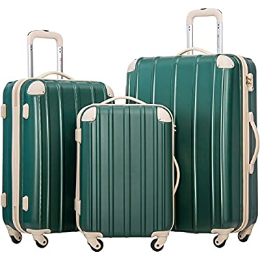 Merax Travelhouse 3 Piece Spinner Luggage Set with TSA Lock (DarkCyan & Ivory)