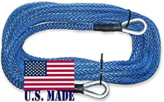 BILLET4X4 U.S. Made 3/8 inch x 50 ft. AMSTEEL Blue Winch Rope Extension - 20,400lb Strength (4X4 Vehicle Recovery)