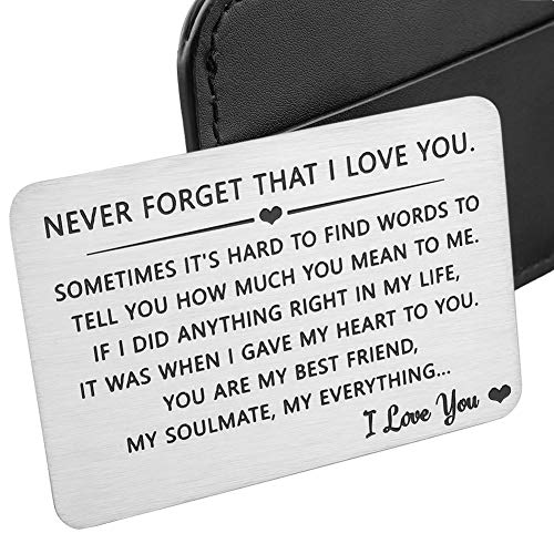 Husband Wife Wallet Card Insert Valentine Christmas Gifts for Him Her Men Husband Anniversary from Wife Girlfriend Stocking Suffers Birthday Gift I Love You Note Wedding Engagement Gifts Fiance Groom