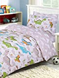 Indus Textiles Kids Bedding Sets - 100% Soft Cotton - Duvet Cover With Fitted Sheet and Pillowcases Matching - Reversible - Dinosaur - Single Complete Set