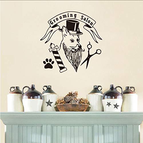 Lglays Mode Hundesalon Salon Wandaufkleber Hund Mit Hut Paw ScissorsDecals Für Pet Shop Home Decor55 * 55 Cm