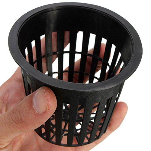10pcs Schwarz Blumetopf Kunststoff Mesh Netz Pot Baskets Garten Anlage Wachsen Cup