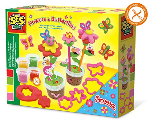 SES Creative 00433 Knete-Duftende Blumen und Schmetterlinge, Diverse Farben