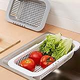 BIlinl Réglable sur Evier Plat Séchage Grille Egouttoir en Plastique Légumes Fruit Porte-Panier De Cuisine Ustensile