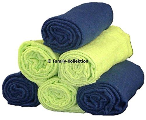 Family-Kollektion 6er Pack Mullwindeln bunt I hautfreundliches & angenehm weiches Schmuse-Tuch I Spucktücher Baby aus 100% Baumwolle I 6 Stück Baumwoll-Tücher 70 x 80 cm (Grün/Dunkelblau)