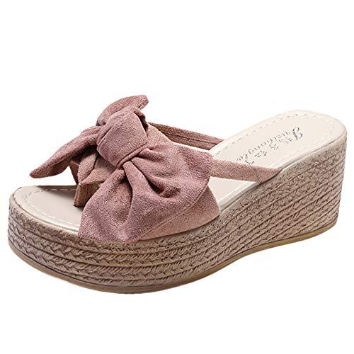 URIBAKY - Sandalias para mujer con cuña abierta, zapatos de playa con pajarita, zapatillas romanos, Rosa (rosa), 39 EU