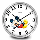 GRENSS Disney Mickey Mouse reloj lindo de dibujos animados Mickey hora reloj niños s reloj de pared reloj de pared – plata _14 pulgadas