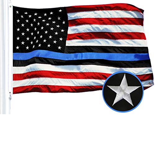 G128 - Blue Lives Matter American USA Police Flag Embroidered Stars Sewn Stripes 3X5 FT Brass Grommets - Honoring Men Women Law Enforcement Officers Red Black White Blue
