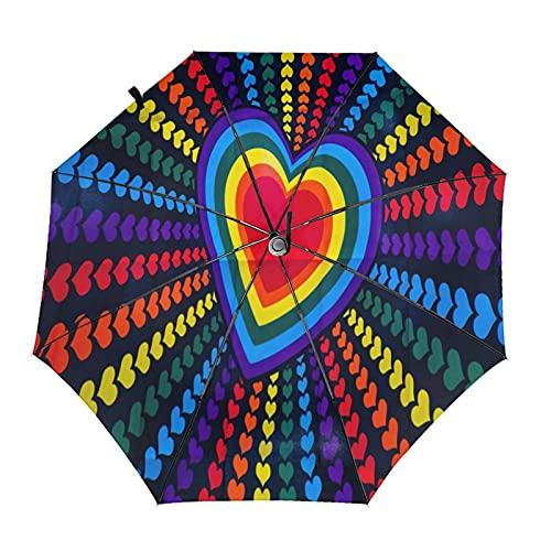 Loving Heart Shaped Lollipop Travel Paraguas plegable portátil compacto ligero diseño automático y alta resistencia al viento