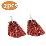 iTop3te Cheerleading Pom Poms, 1 Pair Cheerleader Costume Red Pompoms Sports Dance Cheer