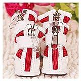 MOLUO Zapatos para Perros 4 Zapatos PC/Calientes del Invierno del Perro de la PU de Malla Transpirable for Mascotas Corto Botas Chihuahua pequeño Cachorro Suaves Zapatos (Color : Red, Size : XS)