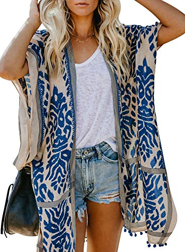 Dokotoo Womens Fashion Print Open Front Long Kimonos Pop Pop Trim Tassel Split Cardigans Holiday Beach Swimsuit Swim Bikini Loose Cover up Swimwear Blue