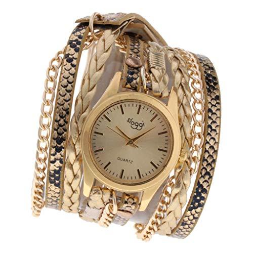 IPOTCH Reloj De Pulsera Multicapa para Mujeres, Relojes De Pulsera/Cadena De Brazo con Estampado De Serpiente De Cuero Sintético, Joyería De Moda De Reloj - Dorado