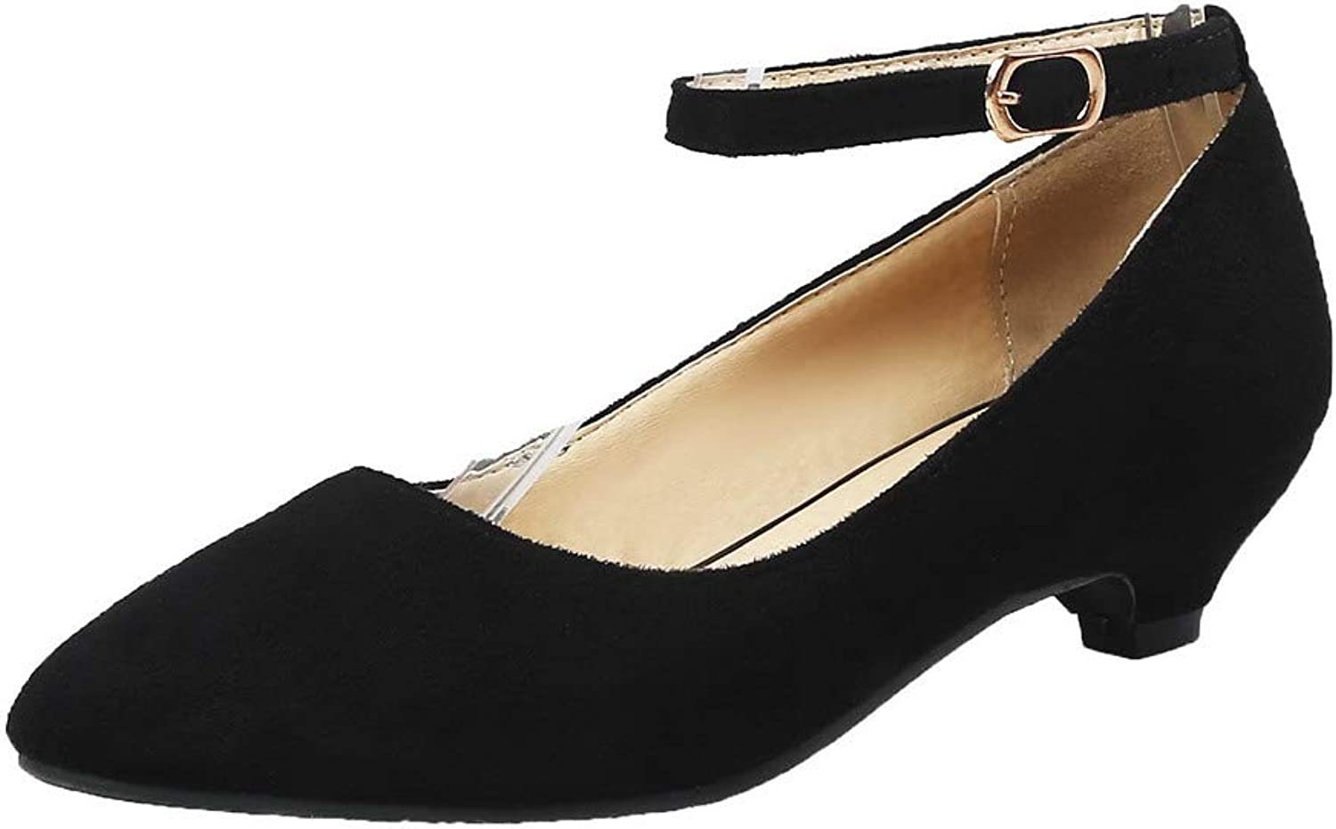 WeenFashion Women's Low-Heels Buckle Imitated Suede Pointed-Toe Pumps-shoes,AMGDW010754