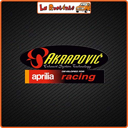La Ruotante 2 Stickers Akrapovic Aprilia Racing (Vinyl) Motorrad Vespa Fietshelm 500 VW 10x4,5 Cm